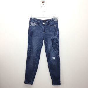 WHBM girlfriend jeans distressed patches lace 0133